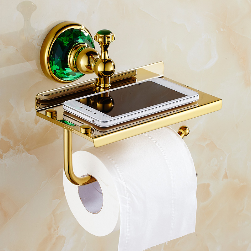 Luxury Design Bathroom Wall Mounted Golden Toilet Paper Holder Bar Mobile /phone Rack Roll Paper Tissue Shelf