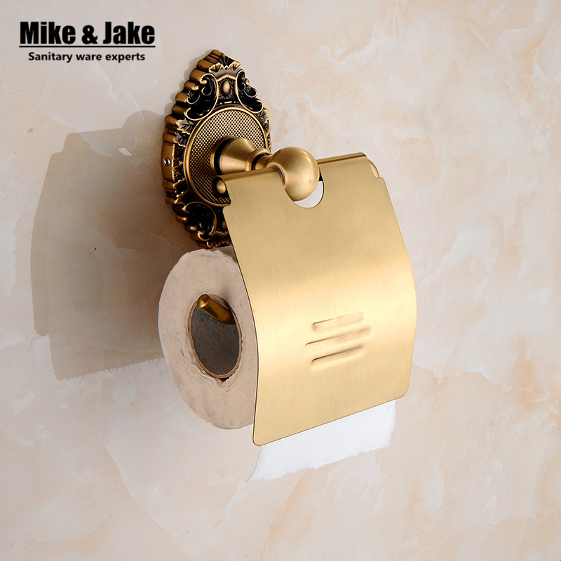 Bathroom accessories luxury antique brass paper holder whole coper paper shelf rack toilet roll holder wall paper hanger 8901