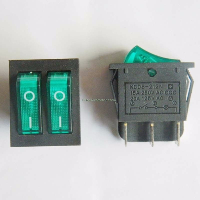 KCD3 Double row Double switch Rocker switch 250V15A KCD3 6 Pin
