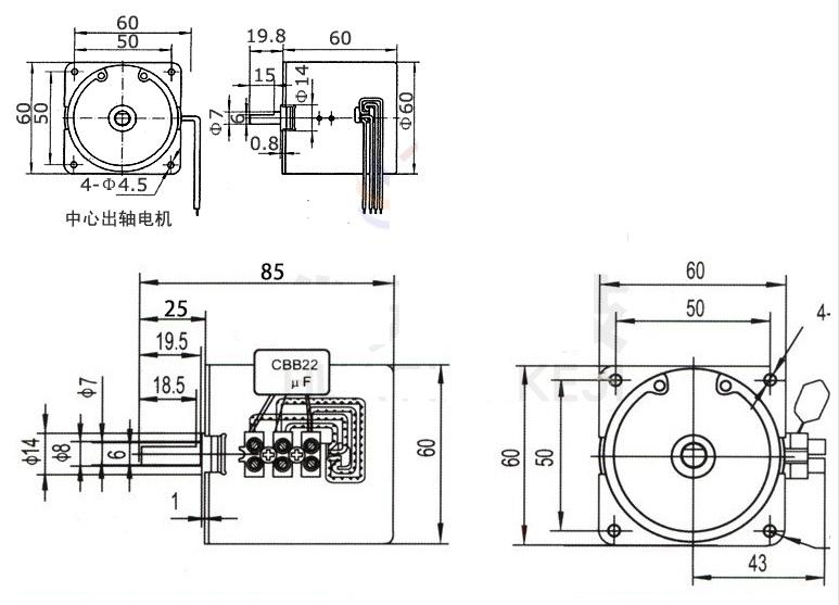 60KTYZ Gear Motor 2 5 -60RPM Low Noise Gearbox Electric