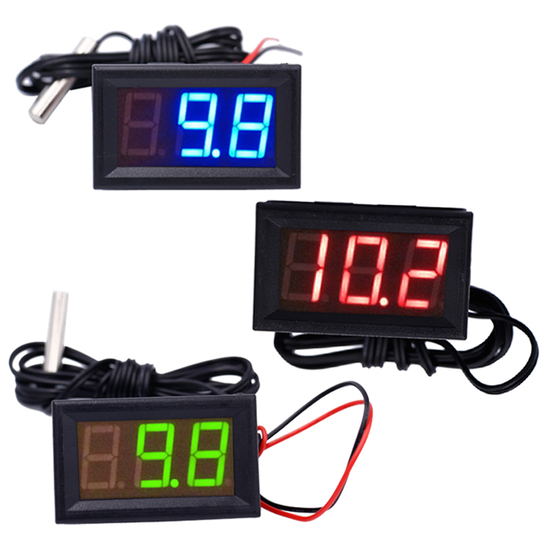 Digital 12V Temperature Monitoring tester Thermometer  With Temp Probe LED meter -50~100C