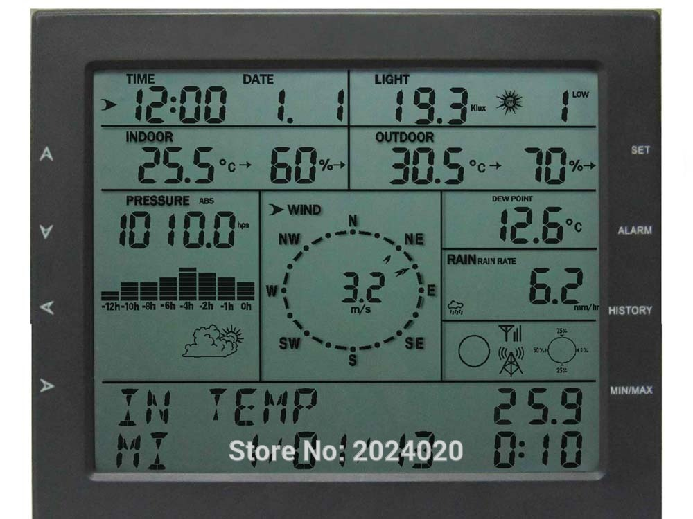 MISOL / professional weather station / wind speed wind direction rain meter pressure temperature humidity UV