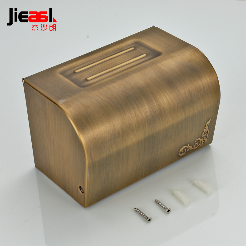 All Copper Paper Holder Roll Tissue Holder Hotel Works Toilet Roll Paper Tissue Holder Box Surface Antique Drawing Treatment 108