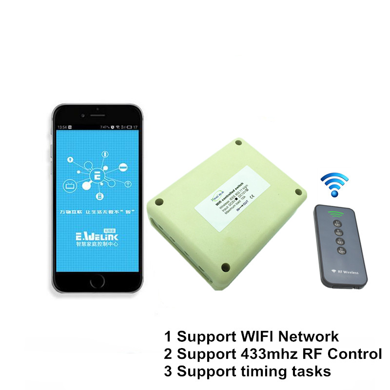 2017 New 4CH 5V DC WIFI Light Switch Controlled by Phone APP, RF 433mhz Wireless Remote Control Switches For Garage Smart Home