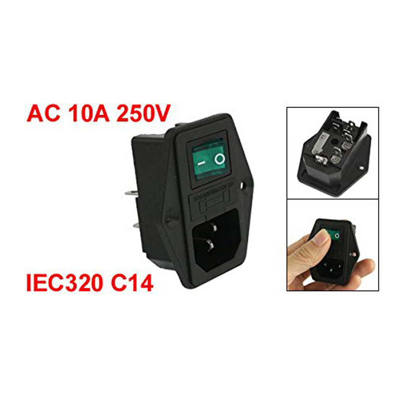 AC 10A 250V IEC320 C14 Inlet Module Plug Neno Lamp On/Off Boat Switch Fuse Holer --M25
