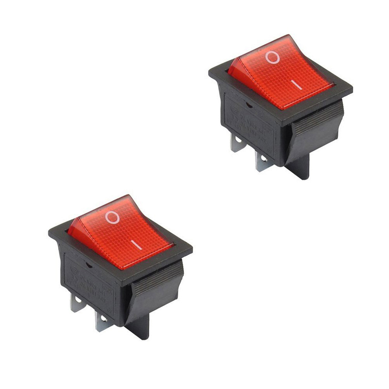 5pcs Mini 4Pin 2Position DPST ON-OFF Snap in Car Rocker Switch W Red Lamp --M25