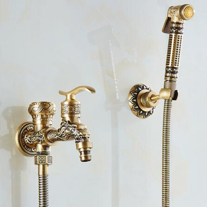 Antique-Brass-Bidet-Faucet-Wall-Mounted-Bathroom-Shower-Toilet-Washing-machine-Faucet-Cold-Water-with-Hand (1)