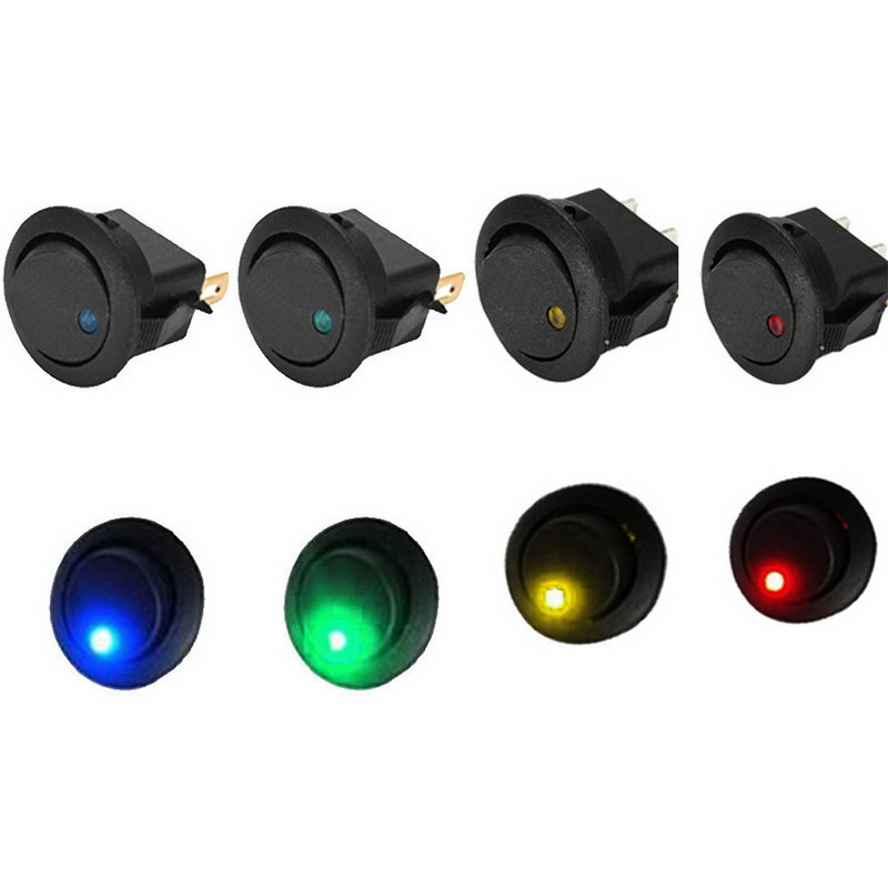 New 5PCS/Lot 12V LED Dot Light Car Boat Round Rocker ON/OFF SPST Switch