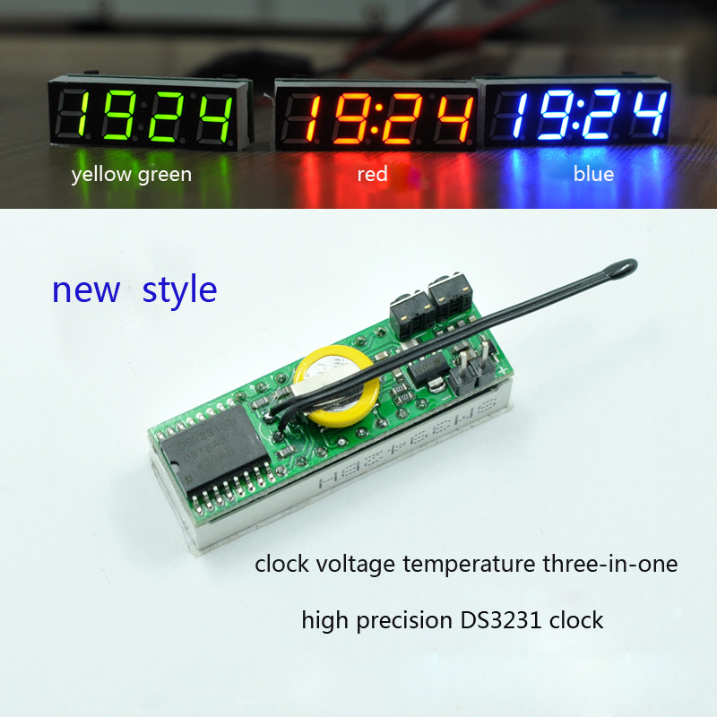 3 In 1 LED RX8025T DIY Digital Clock Temperature  And  Voltage Module  Electronic High-precision DC12V