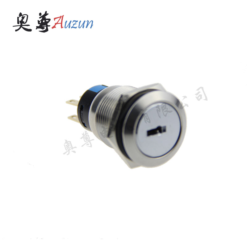 19 mm metal knob switch 3 file normally open 2 long closed with the key switch waterproof rust stainless steel button
