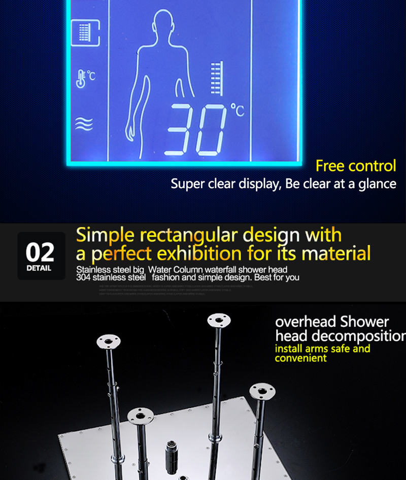 Bathroom 3 Ways Shower Sets Intelligent LCD Digital Concealed 20 SPA Mist  Thermostatic LED Smart Shower Set Touch Panel Mixer  (22)