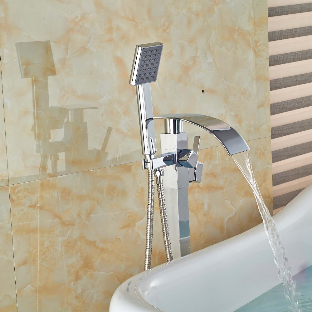 Solid Brass Bathroom Waterfall Spout Bathtub Faucet Brass Tub Mixer Taps Floor Mount with Handsprayer