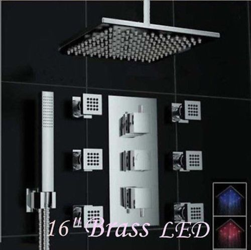 "Chrome Thermostatic 16"" Ceiling Mount LED Rain Shower Faucet 6 Massage Jets Mixer Tap Wall Mounted"