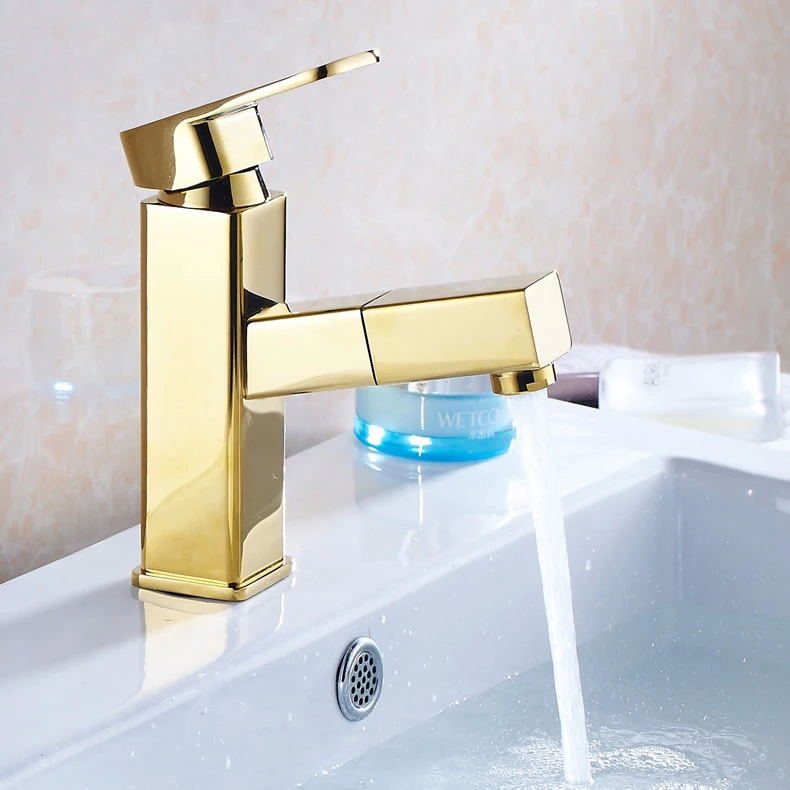 Basin Faucets Pull Out Bathroom Sink Taps Golden Modern Square Single Lever Concrete Mixer Ceramic Cartridge Washbasin Tap 9016