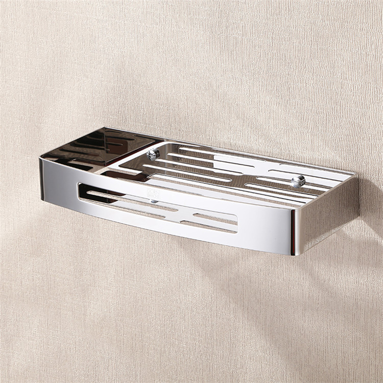 Contemporary German Square Bathroom Wall Storage Rack Wall Mount Bathroom Hardware Hanging Single Angle Basket