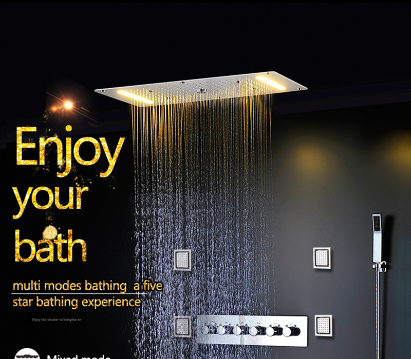 Embed Ceiling Rainfall Showers Set Massage Spray Led Electric Power Bathroom 5 Way Conceal Install Thermostatic Shower Faucets  (1)