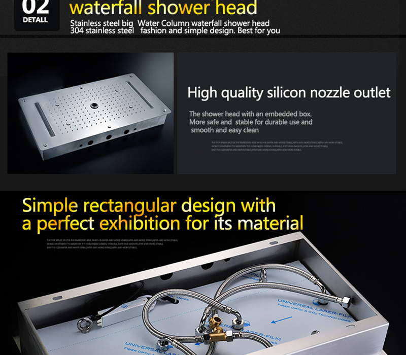 Embed Ceiling Rainfall Showers Set Massage Spray Led Electric Power Bathroom 5 Way Conceal Install Thermostatic Shower Faucets  (29)