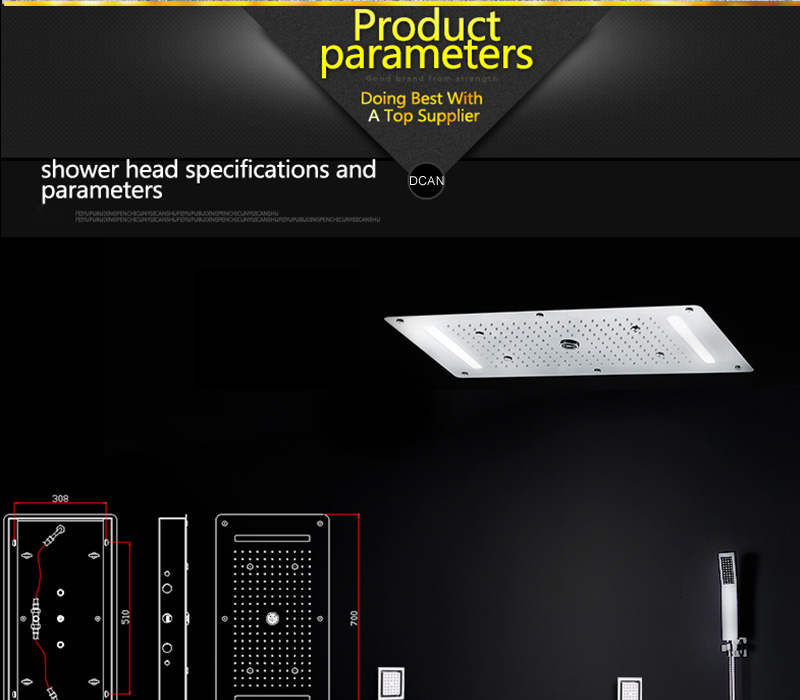 Embed Ceiling Rainfall Showers Set Massage Spray Led Electric Power Bathroom 5 Way Conceal Install Thermostatic Shower Faucets  (23)