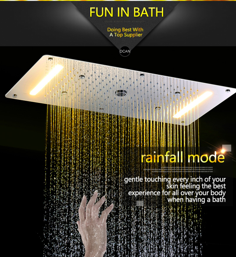 Embed Ceiling Rainfall Showers Set Massage Spray Led Electric Power Bathroom 5 Way Conceal Install Thermostatic Shower Faucets  (10)