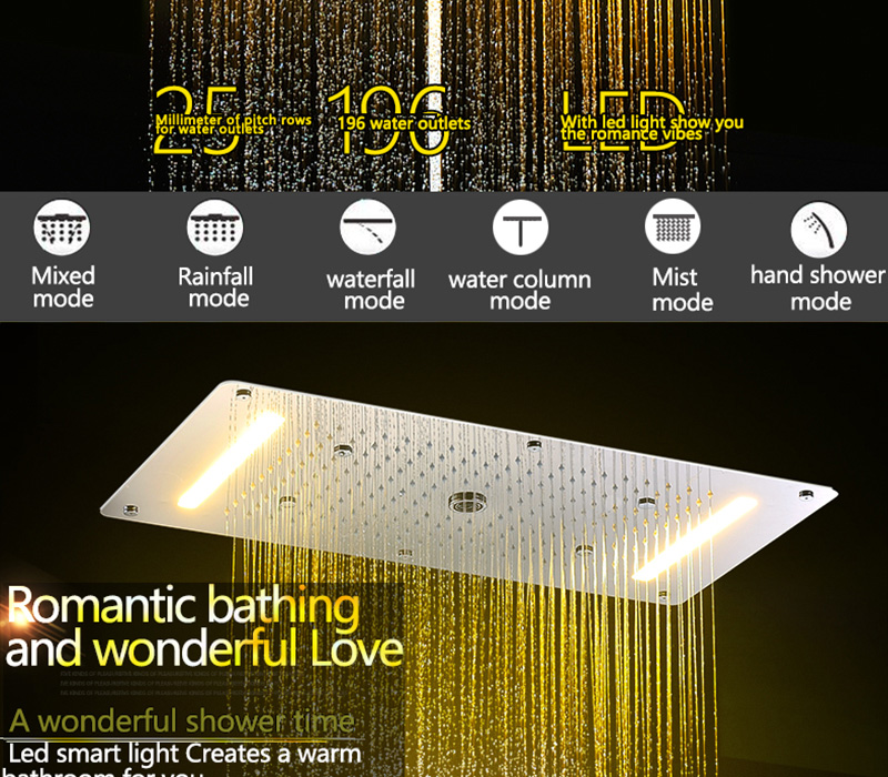 Embed Ceiling Rainfall Showers Set Massage Spray Led Electric Power Bathroom 5 Way Conceal Install Thermostatic Shower Faucets  (6)
