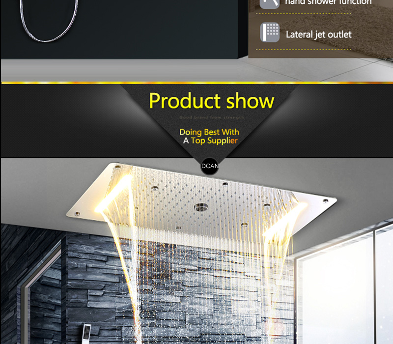 Embed Ceiling Rainfall Showers Set Massage Spray Led Electric Power Bathroom 5 Way Conceal Install Thermostatic Shower Faucets  (20)