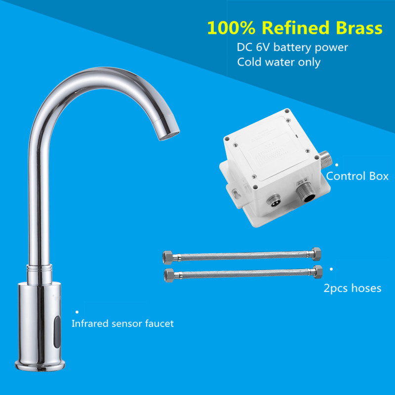 Automatic infrared Sensor Tap 38cm High for Kitchen Basin Hot & Cold Water Swiveling Sensing faucet DC6V Baterry Power