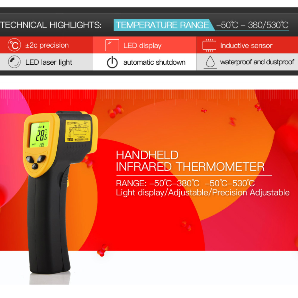 DongMei  Digital Infrared Laser Thermometer Range -50 to380/ 530 degrees Temperature Laser Gun Industry Home Use Yellow Red