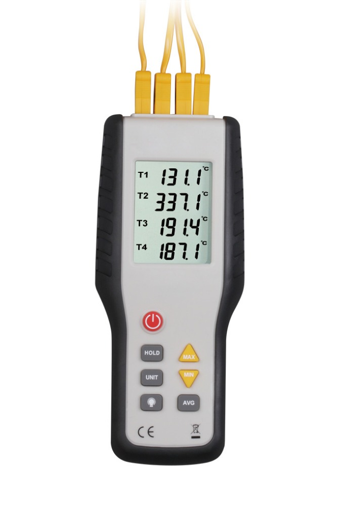 HT-9815 Digital K type Thermocouple Thermometer   4 channel  thermocouple probe sensor industrial temperature test -200C--1372C