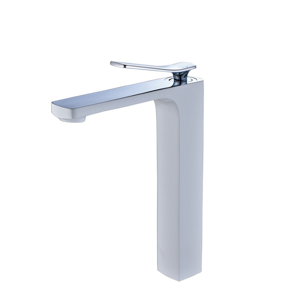 FLG Tall white faucet bathroom water mixer tap bathroom basin faucet