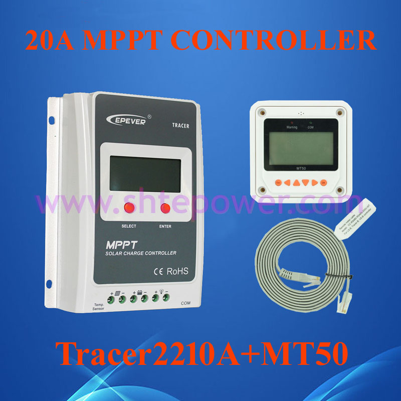 EPsolar Tracer2210A EPsloar 20A MPPT Solar Charge Controller 12V 24V LCD With MT50 meter USB communication & Temperature Sensor