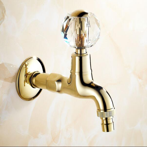 Golden Brass Crystal Handle Extended Mop Pool Taps Wall Mount Single Lever Cold Water Sink Faucet