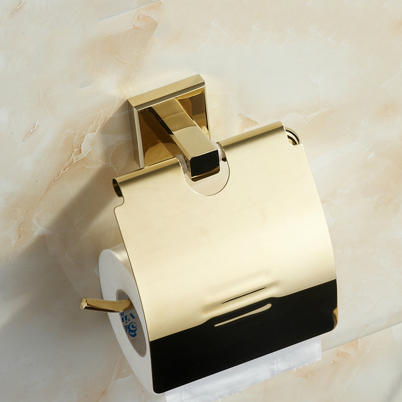 European Gold Copper Toilet Paper Holder Roll Holder Vintage Solid Brass Polished Tissue Box Mounting Bathroom Accessories Y67