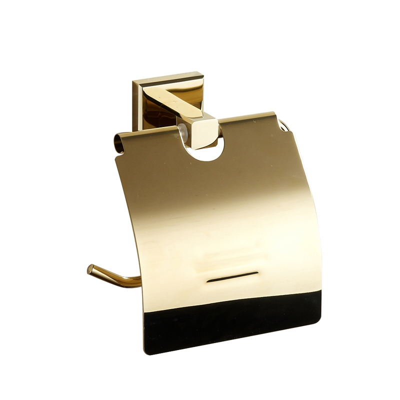 AUSWIND European Gold Solid Brass Roll Holder Square Polished Tissue Paper Holder Tissue Box Mounting Bathroom Accessories GS