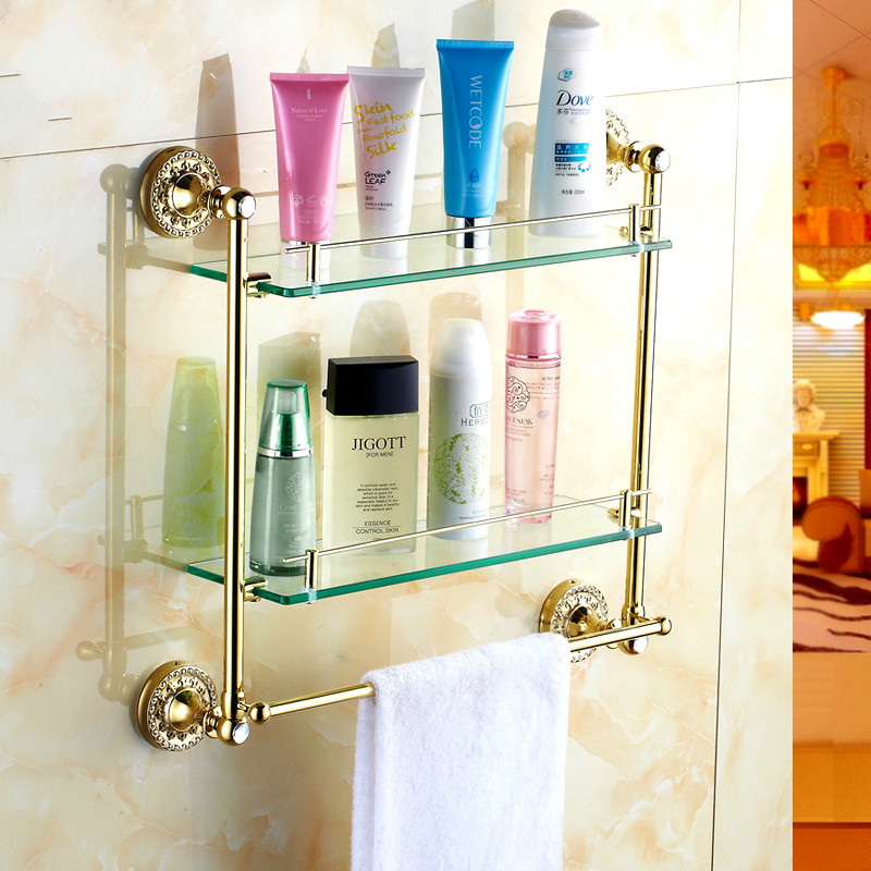 Antique Copper Gold Plated Double Glass Shelf Glass Single Dresser Bathroom Towel Rack Bathroom Accessories