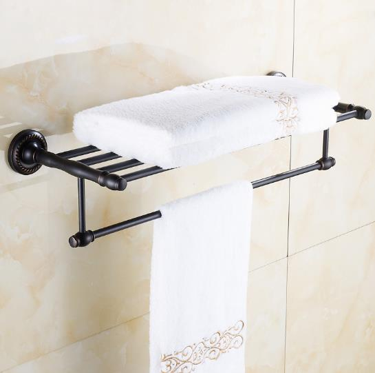 Antique Wall Mount Double Towel Racks Holder European Bronze Full Copper Towel Shelf Bathroom Products