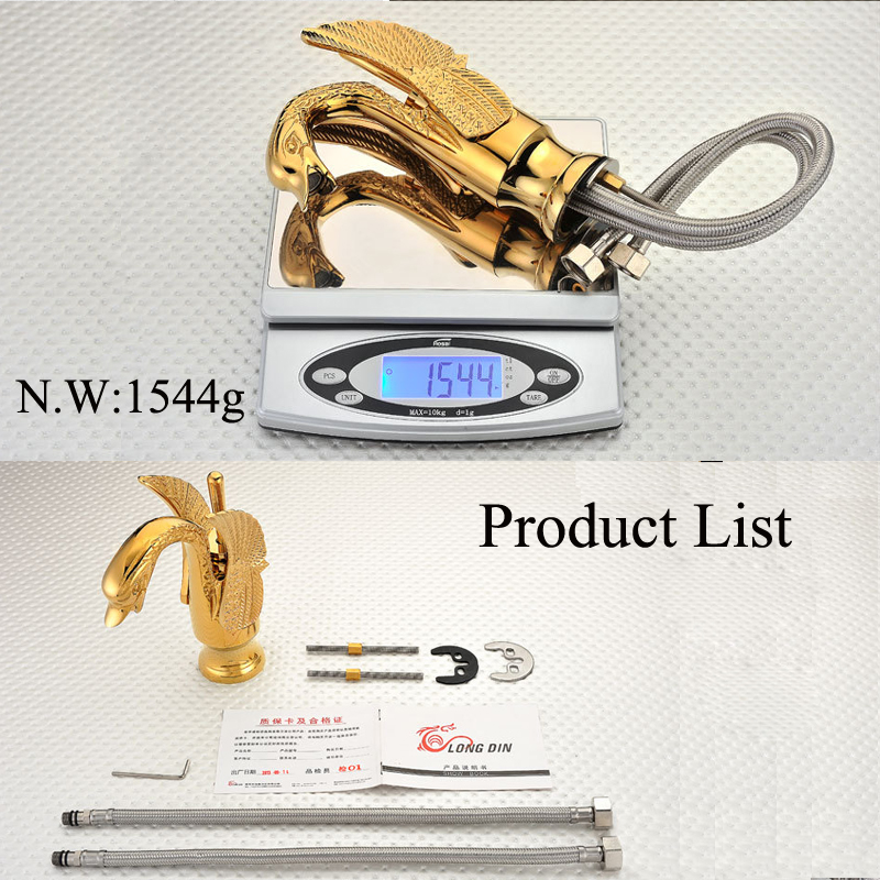 Luxury  Swan Basin Faucet Sink Mixer Tap Bathroom Faucets Brass Faucets Golden Finish Antique Water Taps