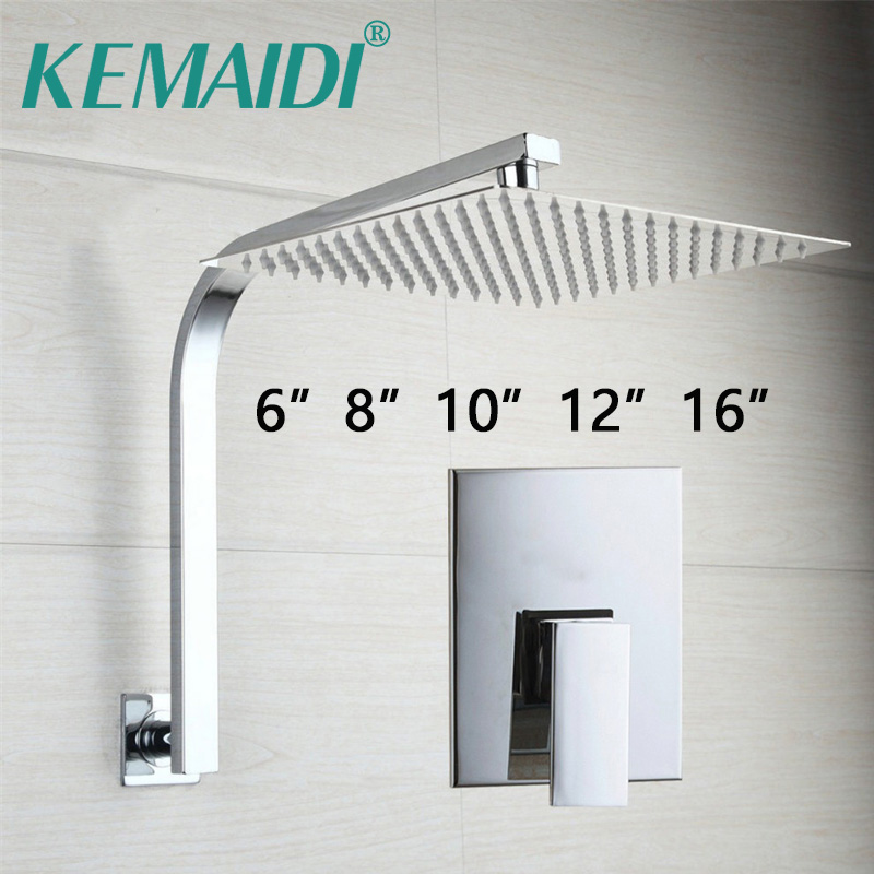 KEMAIDI Bathroom Rainfall Shower Head Wall Mouned Swivel Panel Mixer Taps Bathtub Shower Faucets Set Chrome Finish