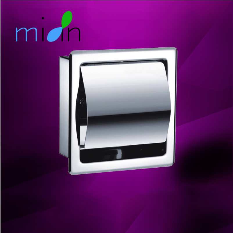 Bathroom Stainless Steel Toilet Paper Holder Polished Chrome Wall Mounted Concealed Bathroom Roll Paper Box Waterproof