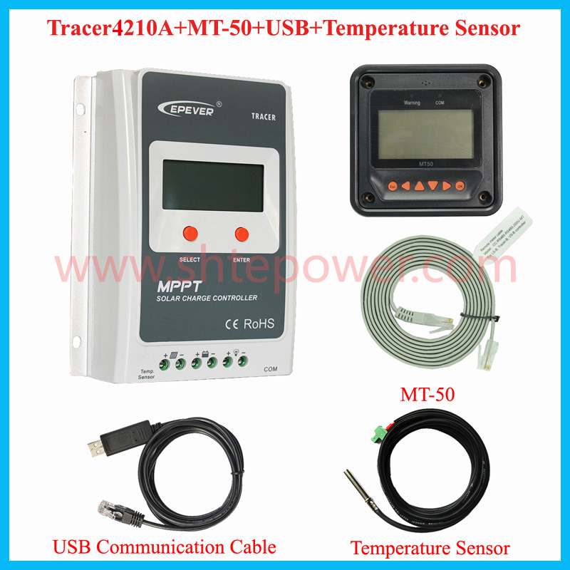 Tracer 4210A EPsloar 40A MPPT Solar Charge Controller 12V 24V LCD Diaplay EPEVER Regulator with MT50 Meter