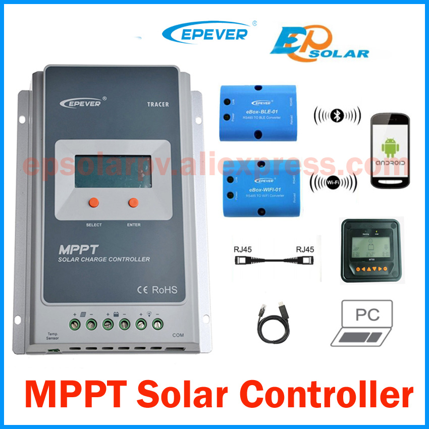 Tracer-2210A-20A-MPPT-Solar-Charge-Controller-12V-24V-LCD-EPEVER-Regulator-MT50-WIFI-Bluetooth-PC