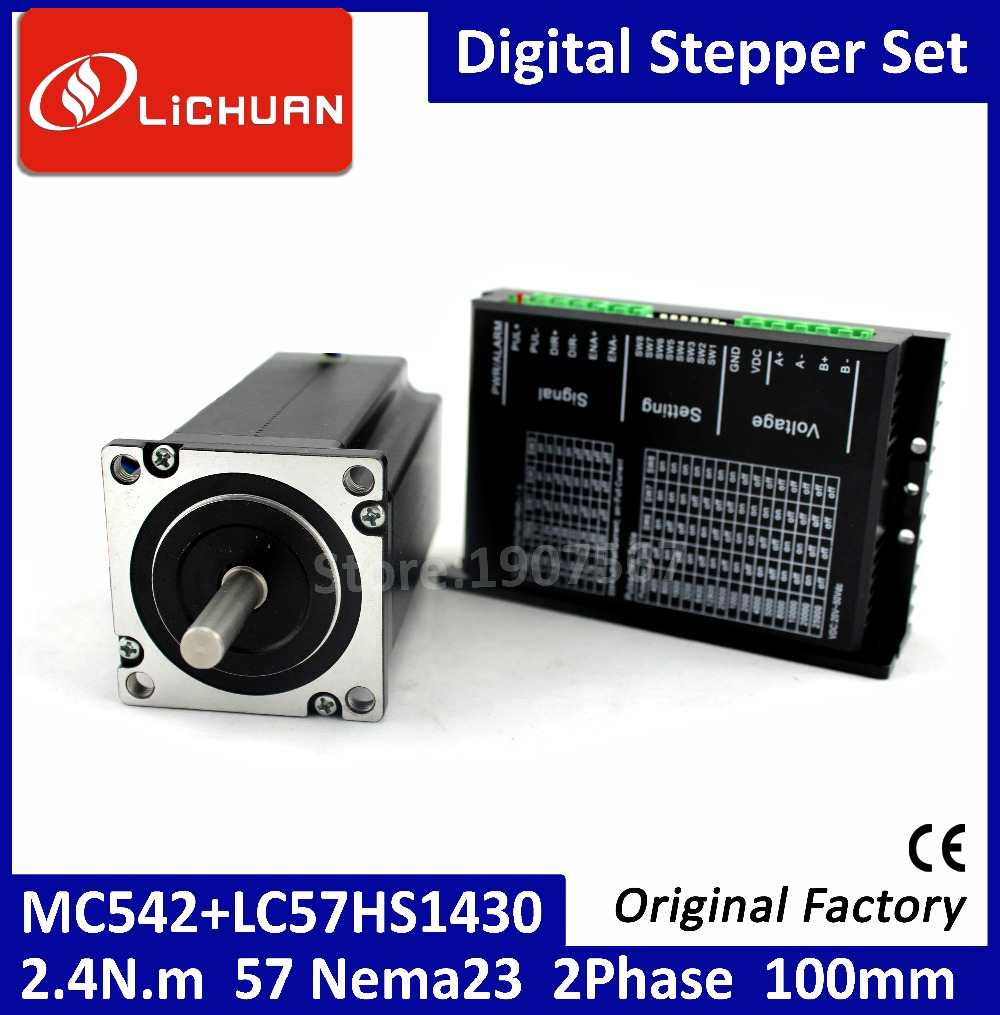 2.4N.M  Stepper Motor with Driver Set, 2 Phases MC542+LC57HS1430 Nema23 Stepper Motor 4 Lines 4.2A