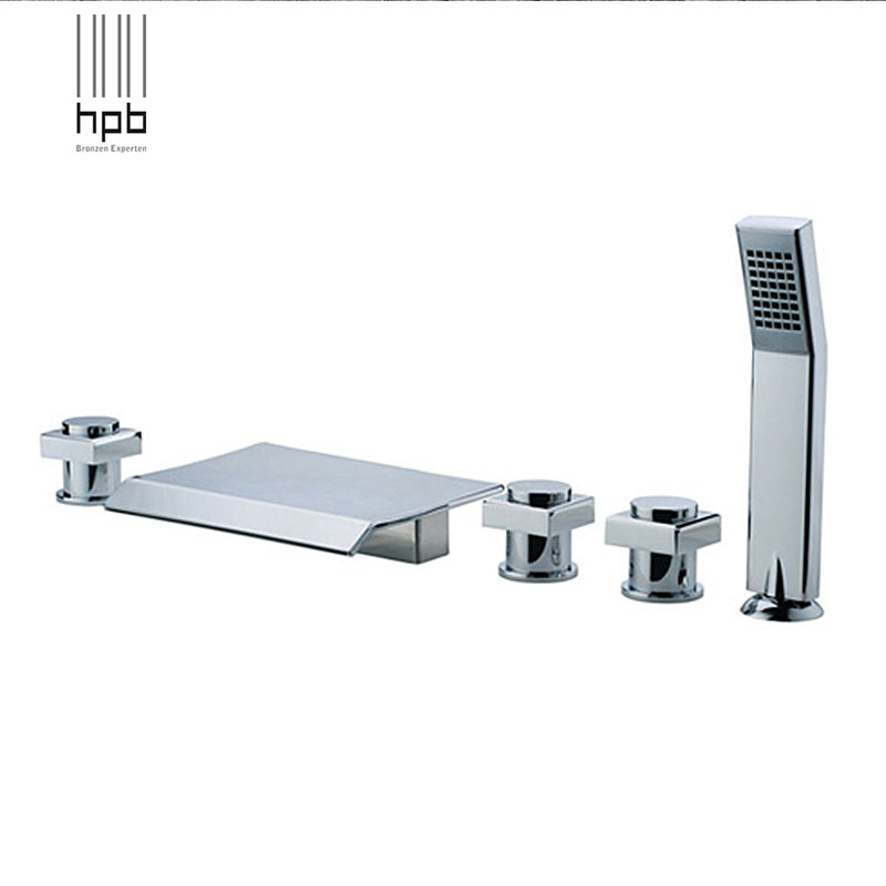 HPB Brass torneira banheiro Hot and Cold Water Bathroom Shower Faucet Waterfall Deck Mounted Bathtub Mixer Bath Set HP5302
