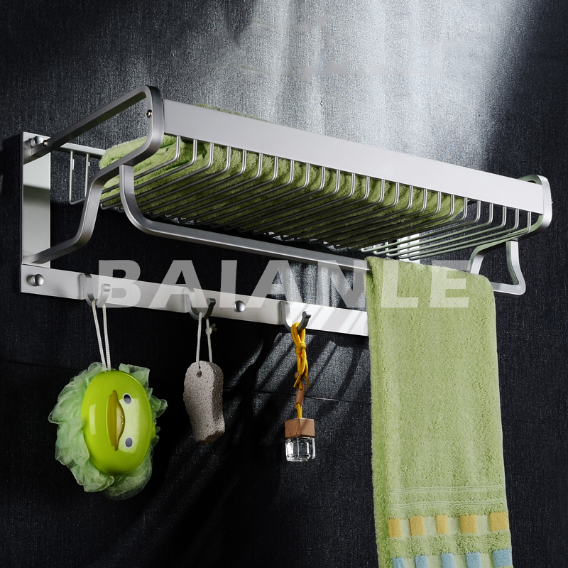Modern Wall Mount Bathroom Towel Holder Aluminium Bathroom Accessories Shower Shelf towel rack with hooks