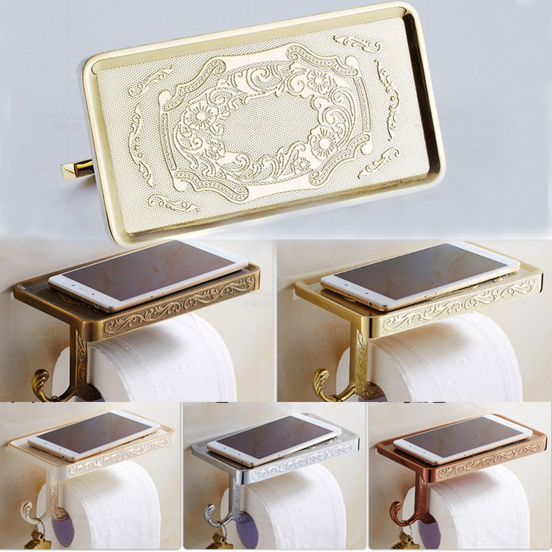 1pcs Newly Toilet Paper Holder Antique Carving Mobile Phone Roll Paper Holder Wall Mounted Paper Rack for Phone