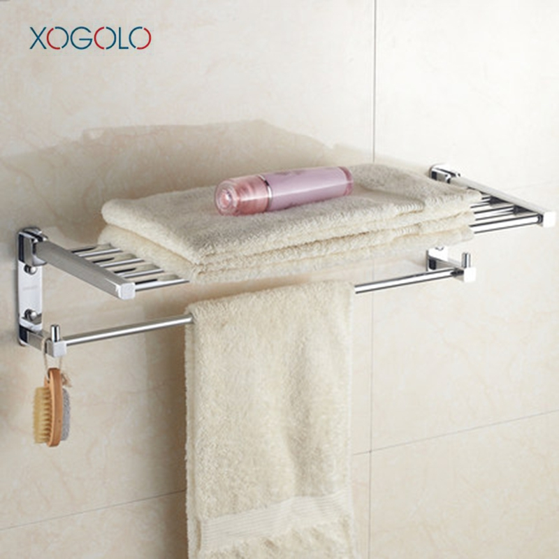 Xogolo Solid Copper Polished Chrome Modern Fashion Wall Mounted Movable Bath Towel Holder Bathroom Towel Rack Accessories