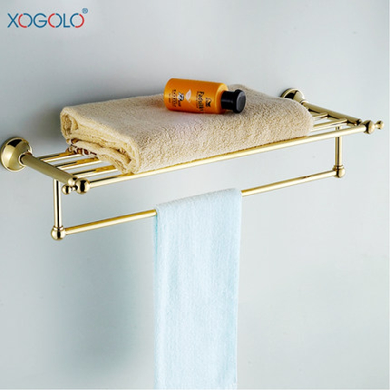 Xogolo Solid Copper Double Layer Gold Color Bath Towel Hangers With Towel Bars New Arrival Romantic Bathroom Towel Rack