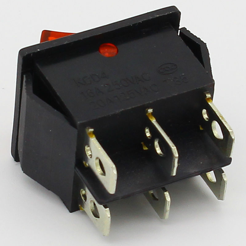 1pcs brass spare parts illuminuted 6 pins rocker switch with lamp