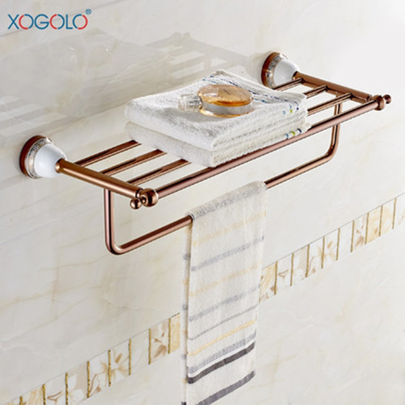Xogolo Rose Gold Creamic Mosaic Bath Towel Hanger Fashion Luxury Double Layer Towel Rack For Bathroom Accessories High Quality