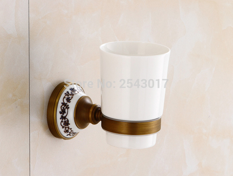 Toothbrush Holder Wall Mount Ceramic Holder Antique Copper Bronze Single Cup Holder ZR2675