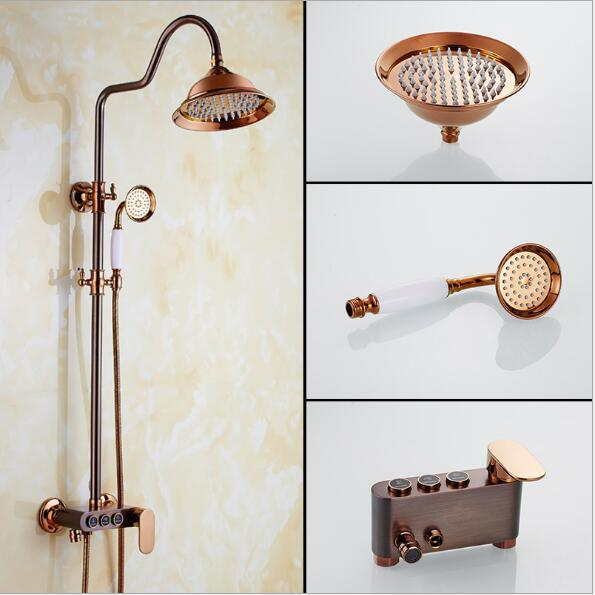 Classic Special color Rainfall Shower Set Wall Mounted Rainfall Bathtub Faucet Mixer Faucet Tap set Luxury Bath & Shower Faucet